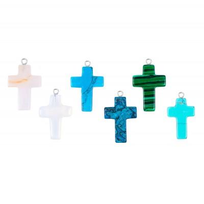 Colier cruce din pietre semipretioase
